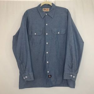 Dickies Blue Button Down Shirt Men's Sz 16-16-1/2